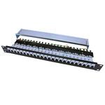 Патч-панель Hyperline 19'', 1U, 24 порта RJ-45 полн. экран., категория 5e, Dual IDC, ROHS, цвет черный