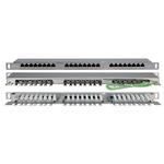 Патч-панель высокой плотности Hyperline 19'', 0.5U, 24 порта RJ-45, категория 5E, Dual IDC, экранированная