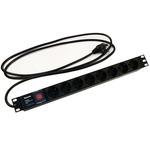 """Блок розеток Hyperline для 19"""" шкафов, горизонтальный, с выключателем с подсветкой, 8 розеток Schuko (16A), 250В, кабель питания 3х1.5мм2, длина 2.5 м, с вилкой Schuko"""