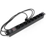 """Блок розеток Hyperline для 19"""" шкафов, горизонтальный, с выключателем с подсветкой, 8 розеток Schuko (10A), 250В, кабель питания 3х1.0мм2, длина 2.5 м, с вилкой IEC 320 C14"""