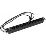 """Блок розеток Hyperline для 19"""" шкафов, горизонтальный, 9 розеток Schuko (10A), 250В, кабель питания 3х1.0мм2, длина 2.5 м, с вилкой IEC 320 C14"""