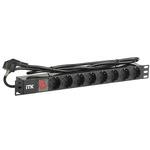 Блок розеток ITK PDU 8 DIN49440 с LED выключателем, 1U, шнур 2м вилка DIN49441 (нем. станд.), профиль из ПВХ, черный