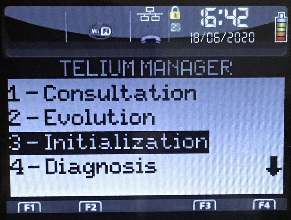Меню Telium Manager Ingenico iWL250 (258)