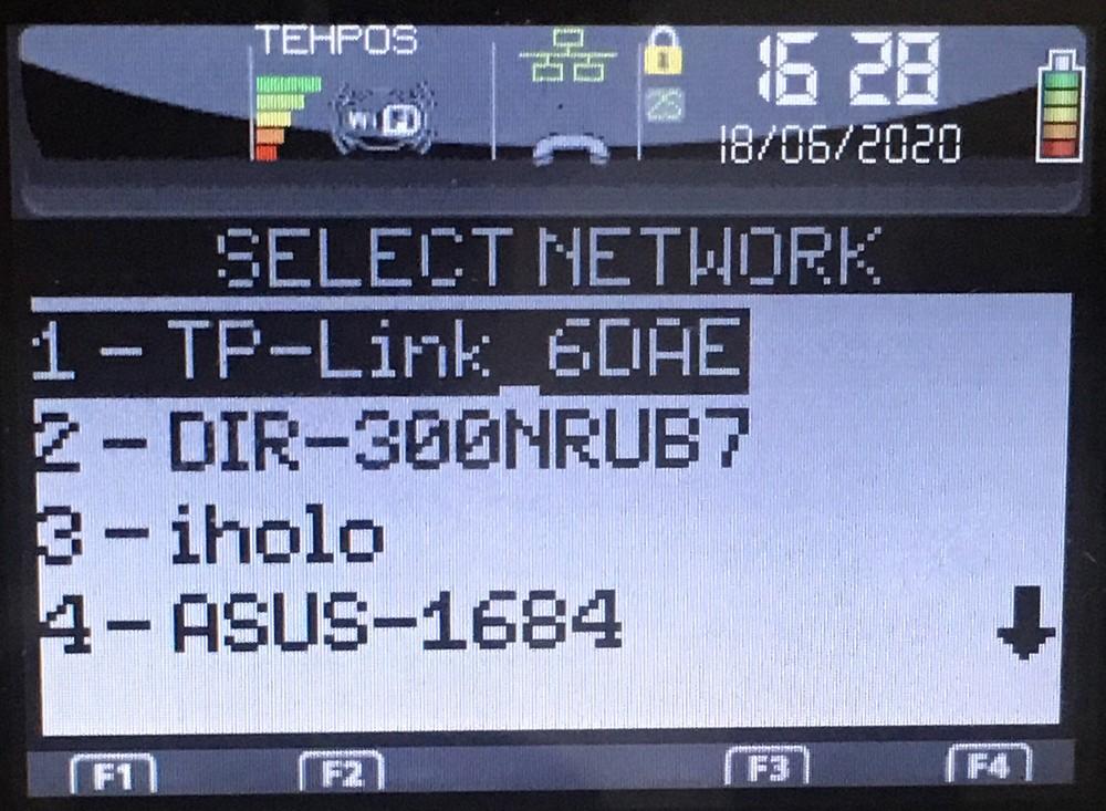 Доступные Wi-Fi сети Ingenico iWL250 (258)